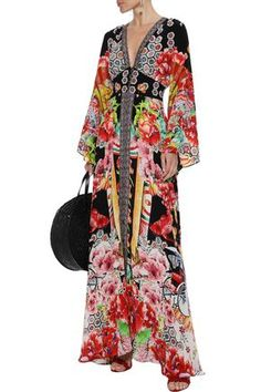 CAMILLA CAMILLA WOMAN PAINTED LAND CRYSTAL-EMBELLISHED PRINTED SILK MAXI DRESS MULTICOLOR. #camilla #cloth Camilla Clothing, Woman Painting, World Of Fashion, Kimono Top, Printed Silk, Sleeves, Fabric, Prints, Crystal
