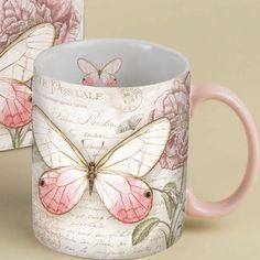 Carte Postale Pink Butterfly Coffee Mug 14oz , 5021045 | Lang