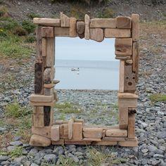 Driftwood Lustro, Drift Wood Lustro, Lustro z naturalnego drewna, driftwood kolaż Lustro