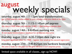 August Weekly Specials!
