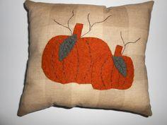 Primitive Pumpkin Pillow Wool Felt Pillow Applique by AkornShop, $23.95