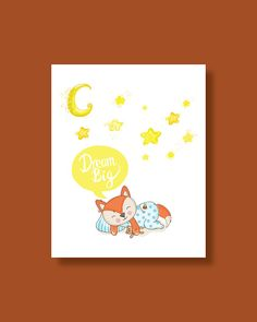 Fox Nursery Art Print Baby Fox Dream Big by HappyLittleBeans Fox Nursery, Nursery Wall Art, Nursery Decor, Art Wall Kids, Art For Kids, Large Prints, Fine Art Prints, Fox Art, Baby Prints