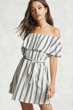 Forever 21 Contemporary - A woven mini dress featuring an elasticized off-the-shoulder neckline forming short sleeves, a flounce layer, a self-tie belted waist, and an allover striped print.