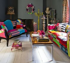 This shows how a room with patchwork furniture like this could be. neutral walls to offset the wildness. very fun Funky Furniture, Painted Furniture, Colorful Furniture, Antique Furniture, Furniture Decor, Eclectic Upholstery Fabric, Estilo Kitsch, Eclectic Decor, Eclectic Style