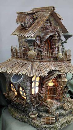 Fairy House lamp, nursery lighting, ceramic table lamp, mood lighting, ideal gift for newborn grandchild Fairy Tree Houses, Clay Fairy House, Gnome House, Fairy Garden Houses, Witch House, Fairy Village, Miniature Trees, Miniature Fairy Gardens, Miniature Houses