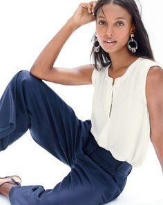 J.Crew women's sleeveless drapey popover shirt, cropped pant and cimmerian hoop earrings.