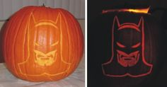 batman pumpkin: use an xacto knife, then hollow out the pumpkin making sure the walls of the pumpkin are thinner near the cut design to let light through