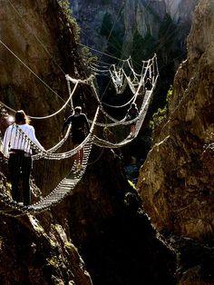 The Tibetan bridge over San Gervasio Gorge, Claviere, Italy Potenza Basilicata