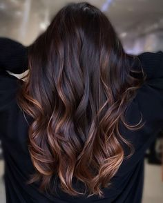 Pretty Hair Color, Hair Color Pink, Hair Color For Black Hair, Brown Hair Colors, Black Hair With Brown Highlights, Light Brown Hair, Hair Highlights, Dark Hair, Lowlights For Black Hair