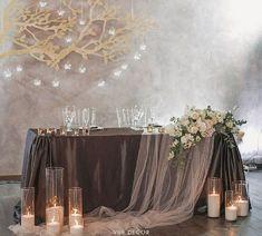 99 Affordable Diy Wedding Décor Ideas On A Budget - Hochzeit Head Table Wedding, Wedding Table Linens, Wedding Reception Backdrop, Wedding Reception Decorations, Wedding Centerpieces, Reception Ideas, Wedding Ideas, Wedding Backdrops, Decor Wedding