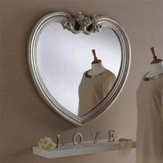 Heart Shaped Mirror With Champagne Silver Frame 97 X 91cm