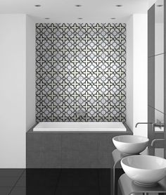 Not sure where you are in your process. This is a very clean look for a drop in tub with a contemporary inexpensive tub surround. dramatic back wall (yours would have a window in it so even less on this kind of tile that is usually pretty expensive. Bathtub Tile Surround, Shower Surround, Drop In Tub, Bath Tiles, Upstairs Bathrooms, Minimalist Bathroom, Bathroom Interior Design, Bathroom Flooring, Shower Tub
