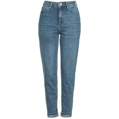 Topshop Moto Sulphur Indigo Mom Jeans (€23) ❤ liked on Polyvore featuring jeans, pants, bottoms, calça, topshop, blue high waisted jeans, high rise jeans, cuffed jeans, topshop jeans and indigo blue jeans