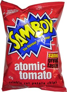 Samboy Chips Atomic Tomato 45g   Samboy's Atomic Tomato are crinkle cut potato chips, with an intense salt and vinegar flavour. The flavour really hits you.  Please note Due to the short expiration on chips you may receive them past date. We have continued to import this snack line due to the requests from our customers. Enjoy.