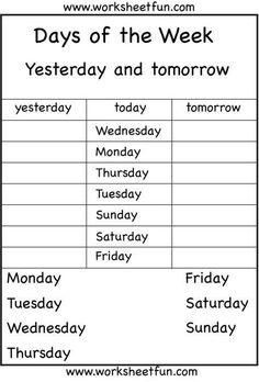 Kindergarten Spelling Worksheets Days the Week Worksheets Eval Kindergarten English Spelling Worksheets, First Grade Worksheets, English Worksheets For Kids, Kindergarten Worksheets, Kids Worksheets, Activities In English, Calendar Worksheets, Lkg Worksheets, Kids English