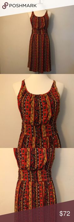 🍀 LUCKY BRAND Tribal Dress Lucky brand tribal print tank dress size medium in excellent condition. Mannequin is a size 6. Material is very stretchy bottom is loose and ruches around mid section to accentuate curves. Extra layer of material in the top part in front and back as you can see in pictures.  I tried the dress on and it makes my chest look bigger (in a good way). Bottom is loose fitting. Has a tribal print and colors are very bold and vibrate. Lucky Brand Dresses Midi