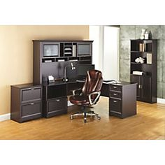 Realspace® Magellan Collection L Shaped Desk, Espresso Item # 101095 |  Shared Office | Pinterest | Espresso, Desks And Office Spaces