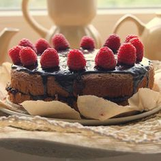 """Cocoa sponge cake with jam filling and addictive chocolate glaze ... a yummy recipe from this blog, """"Pieczone truskawki"""". Visit my blog!"""