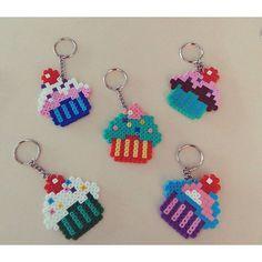 Cupcake keychains hama mini beads by cevizagacidesign