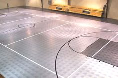 Indoor basketball court cost estimate - Concrete basketball courts primarily comprise four inches of concrete, but also require a smooth Home Basketball Court, Basketball Court Flooring, Sports Court, Rubber Tiles, Playground Flooring, Design Jardin, At Home Gym, Tile Floor, Basements