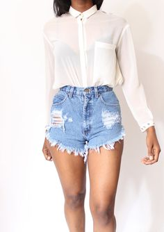 Custom Made Destroyed Dirty Ripped Distress   High Waist Shorts xS S M L