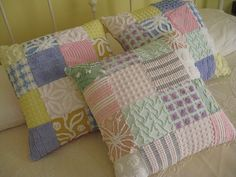 these cushions were pieced together from scraps of beautiful chenille bedspreads ....hope to make some as well...another excuse for some thrift store shopping :)