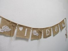 This Burlap and Lace Banner is adorable for above the gift table at a wedding.