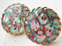 Vintage Sarah Coventry Mardi Gras Confetti Earrings by wimpyren, $15.00
