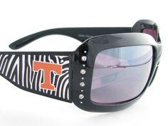 Tennessee Volunteers NCAA Women's Rhinestone Black Zebra Print Sunglasses