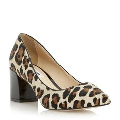 DUNE LADIES ALISE - Pointed Toe Block Heel Court Shoe - leopard   Dune Shoes Online