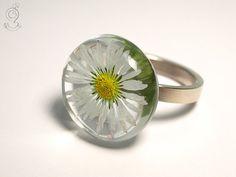 Gänseblümchen – Zarter Blüten-Ring mit einem echten weiß-gelben Gänseblümchen in Gießharz auf einem 925 Sterlingsilber-Ring