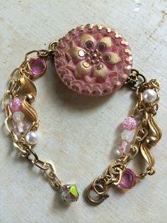 Vintage pink glass button bracelet