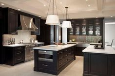 Dark Kitchen Cabinets - Design Chic #Kitchen #DarkCabinets #HomeDecorators