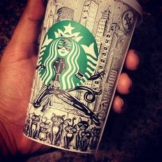 """Find and save images from the """"starbucks cup art"""" collection by Sofia (LondonerGIRL) on We Heart It, your everyday app to get lost in what you love. Starbucks Cup Design, Starbucks Art, Starbucks Drinks, Starbucks Coffee, Starbucks Cup Drawing, Coffee Cup Art, Arte Sketchbook, Wow Art, Art Plastique"""