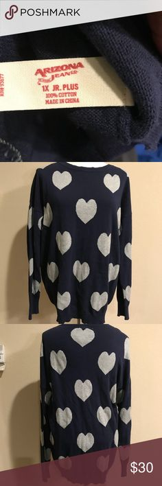 Navy blue and grey heart sweater Navy blue and gray heart sweater. Perfect for Valentine's Day. Great condition. Arizona Jean Company Sweaters