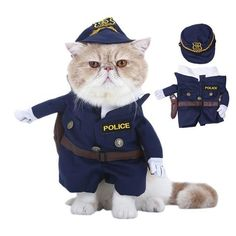 SaveStore Pet Standing Costume Suit Policeman Cosplay Clothes For Small Medium Cats Dogs Puppy Party Halloween Jacket Coat Clothing Best Halloween Costumes & Dresses USA Pet Halloween Costumes, Pet Costumes, Halloween Cat, Halloween Games, Halloween Christmas, Halloween Cosplay, Halloween Ideas, Cosplay Costumes, Happy Halloween