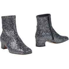 L' Autre Chose Ankle Boots (£188) ❤ liked on Polyvore featuring shoes, boots, ankle booties, steel grey, leather booties, zip ankle boots, ankle boots, glitter ankle boots and genuine leather boots