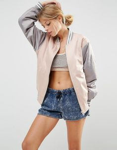 Image 1 of ASOS Bomber Jacket in Color Block
