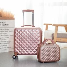 4d0e29c0c811 Letrend 18 inch Carry On Rolling Luggage Set Spinner Women ABS Trolley  password Travel Bag Zipper