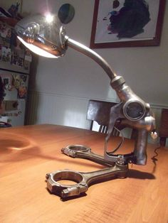Image result for desk lamp made of camshaft and motorcycle headlight
