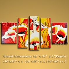 Beautiful Contemporary wall art oil paintings of Lily Flower. Direct from Bo Yi Art Studio. It is with great pleasure to offer you this stunning 5 panel(s) wall art! This painting is created and hand painted by us, it is well stretched with inner frame, r Modern Canvas Art, Large Canvas Wall Art, Contemporary Wall Art, Framed Wall Art, Modern Art, Painting Textured Walls, Dining Room Wall Art, Panel Wall Art, Wall Art Quotes