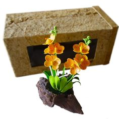 Kinnaree Thai Paper Flexible Clay Flower with Gift Ready Box - Orange Orchid * More info could be found at the image url.