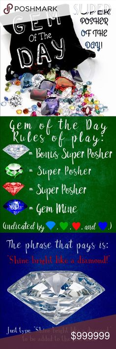 """💎REMEMBER TO COMMENT SHINE BRIGHT LIKE A DIAMOND 🌟Not your average game . . . Gain 500+ followers a DAY!! 📌To play, follow the Diamond of Day and all of their followers. 📌📌Share at least 5 (five) items from the """"Diamond's"""" closet as a thank you for sharing their followers!! 💚❤️Follow the """"Emerald Heart"""" and the """"Ruby Heart"""", Sharing 5(five) of their items also!! 💙Follow the """"Sapphire Heart,"""" a closet worthy of taking a second look!! 💎Comment below with, """"Shine bright like a diamond!""""…"""