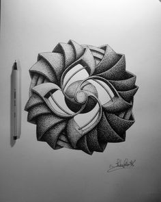 Complex Geometric shapes in Ink Stippling Drawings. By in_my_mind_art. Geometric Shapes Drawing, Geometric Artwork, Dotted Drawings, Cool Art Drawings, Zentangle Drawings, Zentangle Patterns, Stippling Drawing, Ink Illustrations, Pen Art