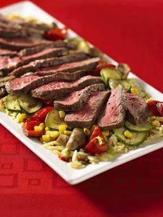 Charred Beef Steak and Veggies With Orzo Pasta {Via Mushrooms Canada}