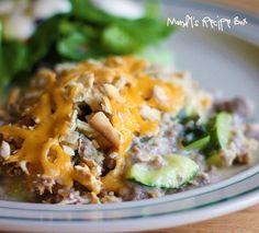Baked Zucchini Casserole | Such a cheesy ground beef casserole recipe!