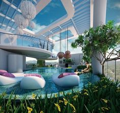 There is a little bit of an odd quality to the architecture, but I like the balcony/patio thing and the floaty things in the pool. Future House, My House, Luxury Pools, Luxury Condo, Luxury Life, Dream Pools, Beautiful Pools, House Goals, Pool Designs
