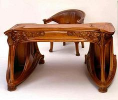 Art Nouveau and Art Deco: Desk and chair. Mobiliário Art Nouveau, Design Art Nouveau, Muebles Estilo Art Nouveau, Architecture Art Nouveau, Jugendstil Design, Art Nouveau Furniture, Art Moderne, Unique Furniture, Furniture Design