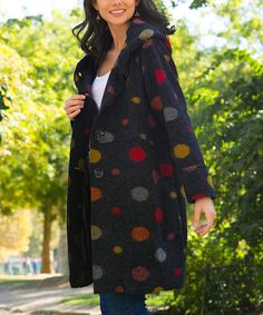 d9b2ce1fa6497 Take a look at this Black   Yellow Dot Wool-Blend Coat - Women