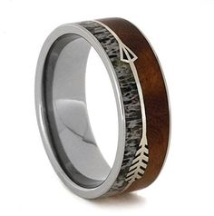 Silver Arrow Ring With Ironwood, Titanium Wedding Band, Deer Antler Ring